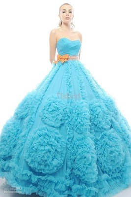 Medium 333725 sky blue 2013 new arrival flowers ruffles orange sash bow with shinning beads ball quinceanera dress