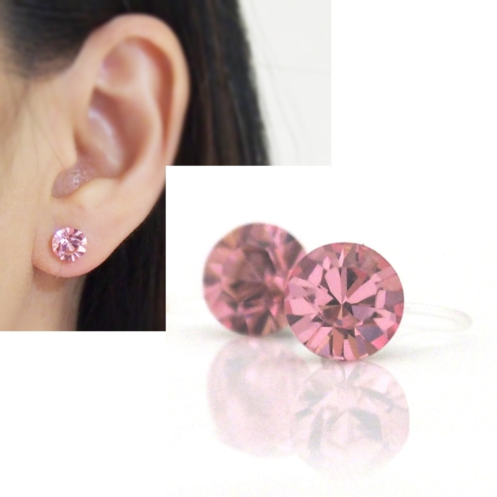 Medium 6mm 8 Mm Light Rose Swarovski Crystal Stud Invisible Clip On Earrings Non Pierced