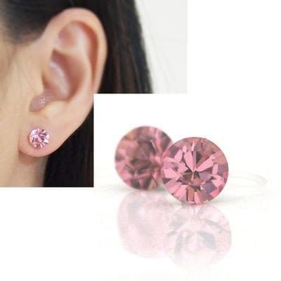 Medium 6mm 8 mm light rose swarovski crystal stud invisible clip on earrings non pierced earrings 7