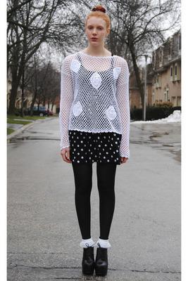 Medium white lace dollar store socks white crochet thrifted top 400