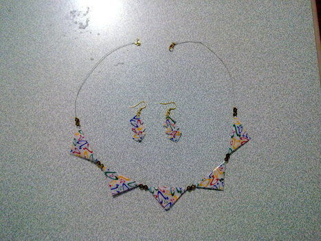 Bunting necklace with chewing gum paper .  Free tutorial with pictures on how to make a bunting necklace in under 180 minutes by papercrafting with beads, paper, and wire. How To posted by Nilüfer . Difficulty: Simple. Cost: Absolutley free. Steps: 7