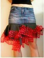Skirt + tulle  .  Free tutorial with pictures on how to sew a denim skirt in under 60 minutes by decorating and fusing with tulle and skirt. Inspired by vintage & retro and clothes & accessories. How To posted by Araceli G. Difficulty: Simple. Cost: Cheap. Steps: 3