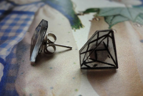 Fancy trinkets! .  Make a pair of shrink plastic earrings in under 10 minutes by jewelrymaking with hot glue gun, marker pen, and oven. Creation posted by EVEnl. Difficulty: Easy. Cost: Absolutley free.