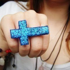 Glittery Inverted Cross Double Ring