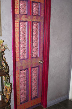 Turn a plain white door into a stunning work of art! .  Make wall decor in under 180 minutes by creating, decorating, papercrafting, collage, decoupaging, and Papier-mâchéing with decoupage glue, sponge, and sponge brush. Creation posted by Kristine P. Difficulty: Easy. Cost: Absolutley free.