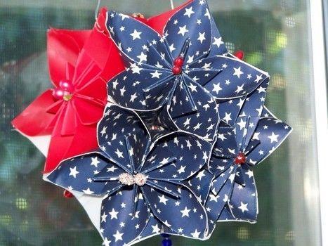 a patriotic kusudama ball · an origami flower · papercraft