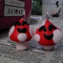 Kawaii Mushroom Fimo Earings!