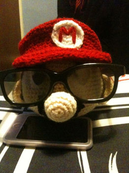It's-a me! Mario! .  Sew a computer game plushie in under 180 minutes by crocheting and amigurumi with felt, felt, and felt. Inspired by super mario and super mario. Creation posted by MizzzZim. Difficulty: 3/5. Cost: Cheap.