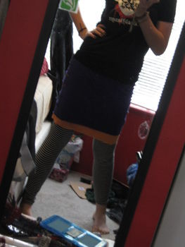 (insert stupid tagline here) .  Recycle a t-shirt skirt in under 15 minutes by sewing with t shirt. Inspired by punk and clothes & accessories. Creation posted by LastKoalaBear. Difficulty: Simple. Cost: No cost.