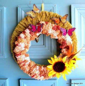 DIY home decor perfect for end-of-summer & early fall .  Free tutorial with pictures on how to make a yarn wrapped wreath in under 120 minutes by decorating, embellishing, and yarncrafting with scissors, ribbon, and wire. Inspired by thanksgiving. How To posted by Casey W. Difficulty: Simple. Cost: Absolutley free. Steps: 7