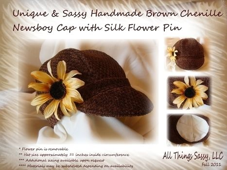 Rich lustrous brown girls cap with flower pin .  Make a baker boy cap in under 180 minutes by sewing with fabric and fabric. Inspired by flowers and clothes & accessories. Creation posted by yanine b. Difficulty: Simple. Cost: Cheap.