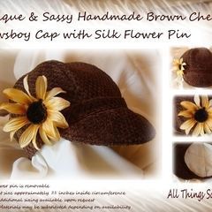 Brown Chenille Girls Newsboy Cap