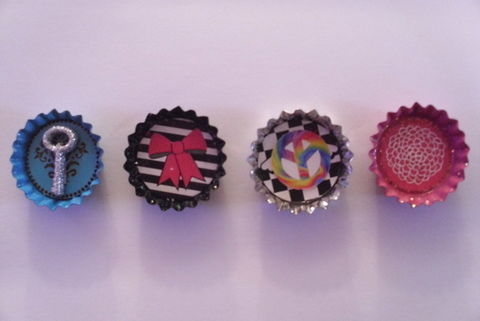 At my freinds birthday party we made these!! but i designed my own. .  Make a bottle cap pendant in under 40 minutes by embellishing and jewelrymaking with embellishments, stickers, and magnet. Inspired by anime & manga, creatures, and gothic. Creation posted by Charles Lee Ray. Difficulty: Easy. Cost: Cheap.