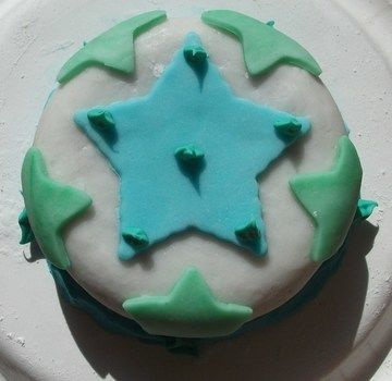 A mini cake decorated in mini stars! .  Decorate a patterned cake in under 35 minutes by baking, decorating food, and cake decorating with water, cake mix, and frosting. Inspired by star print. Creation posted by  Evelyn Vermilion. Difficulty: Easy. Cost: Cheap.