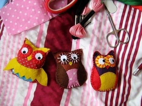 Made with three different patterns! .  Make a bird plushie in under 20 minutes by drawing, creating, constructing, needleworking, embroidering, and sewing with fabric, scissors, and felt. Inspired by owls and owls. Creation posted by Anna H. Difficulty: Easy. Cost: Cheap.