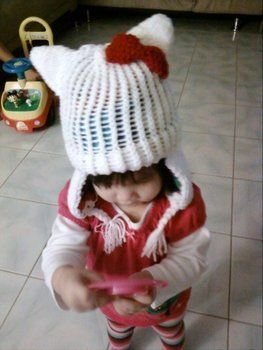 She keeps your noggin warm .  Make an animal hat in under 180 minutes by needleworking, sewing, yarncrafting, and knitting with yarn, fleece, and sewing needle. Inspired by japanese, hello kitty, and anime & manga. Creation posted by Shirls. Difficulty: 3/5. Cost: Cheap.