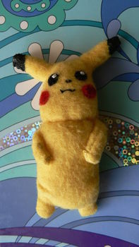 A little pikachu plushie :) .  Make a Pokemon plushie in under 180 minutes by sewing with felt, felt, and acrylic paint. Inspired by pokemon, pokemon, and anime & manga. Creation posted by Lauren. Difficulty: Simple. Cost: Absolutley free.