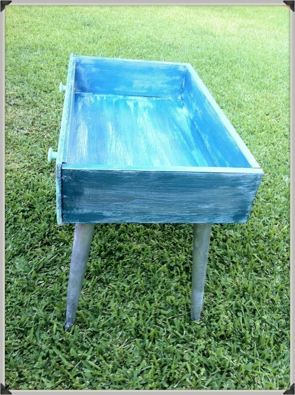 Repurposed Dresser Drawer Into Baubled Patio Table 183 A