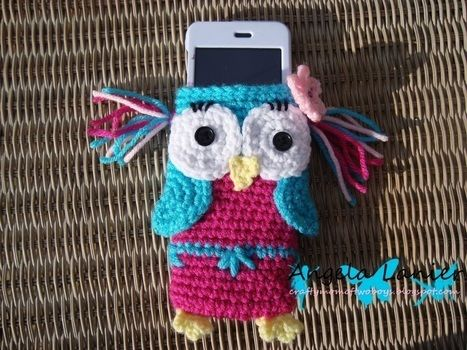 Cute owl iPod cozy  .  Stitch a knit or crochet pouch by crocheting with yarn and crochet hook. Inspired by creatures, kawaii, and owls. Creation posted by Angela L. Difficulty: 3/5. Cost: 3/5.