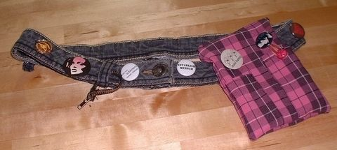New life for old jeans and a place to put my MP3-Player .  Make a recycled belt by drawing and sewing with fabric, paint, and jeans. Inspired by clothes & accessories. Creation posted by Kathy Gregson. Difficulty: Simple. Cost: Cheap.