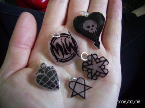 Shrinkys!!!  .  Make a shrink plastic pendant in under 20 minutes using permanent marker, clear nail varnish, and shrinky dink paper. Inspired by gothic and clothes & accessories. Creation posted by Rachel W. Difficulty: Easy. Cost: Absolutley free.