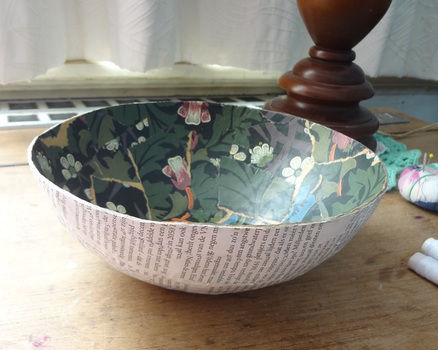 Saving the past. .  Make a paper bowl in under 60 minutes by papercrafting, decoupaging, and Papier-mâchéing with water, salt, and decoupage glue. Inspired by vintage & retro and flowers. Creation posted by EVEnl. Difficulty: Simple. Cost: Absolutley free.