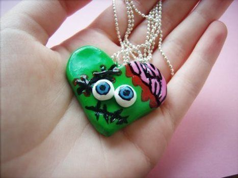 Handmade from polymer clay :) .  Sculpt a clay shape necklace in under 120 minutes by  with polymer clay. Inspired by zombies, monsters, and kawaii. Creation posted by TheHappiiZombiie. Difficulty: 3/5. Cost: No cost.