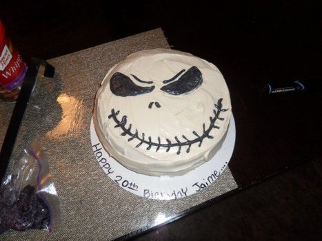 Jack and zero .  Decorate a character cake in under 60 minutes by baking and cake decorating with cake mix. Inspired by skulls & skeletons and jack skellington. Creation posted by maria  s. Difficulty: Simple. Cost: Cheap.