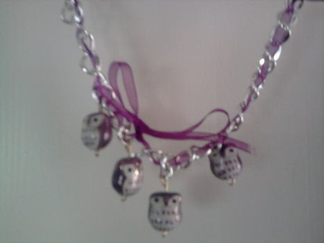 Easy to make, beautiful to wear .  Free tutorial with pictures on how to make a ribbon chain bracelet in under 18 minutes by jewelrymaking with ribbon, pins, and pliers. Inspired by creatures, kawaii, and owls. How To posted by Sigrid. Difficulty: Easy. Cost: Cheap. Steps: 4