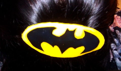 Show you Batpride by making and wearing a cheap and easy hairclip .  Free tutorial with pictures on how to make a fabric hair clip in under 30 minutes by decoupaging with scissors, glue, and acrylic paint. Inspired by batman, bats, and clothes & accessories. How To posted by KMOM14. Difficulty: Easy. Cost: Absolutley free. Steps: 5