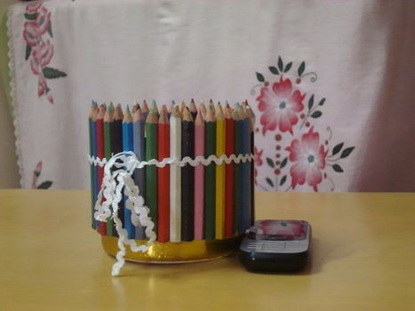 Reuse of old pencil colours .  Free tutorial with pictures on how to recycle a pencil box in under 120 minutes by creating and decorating with plastic bottle. Inspired by creatures, vintage & retro, and people. How To posted by Vandana J. Difficulty: Simple. Cost: Cheap. Steps: 2