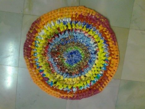 Colourfull rug .  Make a rag rug in under 180 minutes by creating, drawing, braiding, decorating, knotting, needleworking, needlepointing, sewing, patchworking, not sewing, and felting with t shirt and cloth. Inspired by creatures and clothes & accessories. Creation posted by Vandana J. Difficulty: Simple. Cost: No cost.