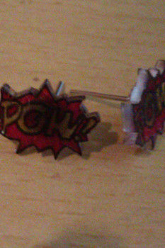 POW!-your got some awsome earings :P .  Make a pair of shrink plastic earrings in under 30 minutes by jewelrymaking with pencil and plastic. Inspired by comic books, vintage & retro, and clothes & accessories. Creation posted by Loopy. Difficulty: Easy. Cost: Absolutley free.