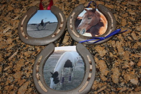 Cute frames made from horse shoes .  Free tutorial with pictures on how to make a recycled photo frame in under 15 minutes by photographing, constructing, decorating, and papercrafting with scissors, ribbon, and glue gun. How To posted by DeadBrainChimps. Difficulty: Easy. Cost: Cheap. Steps: 6