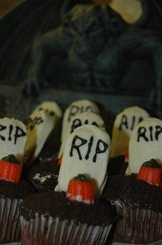 Creepy cupcakes that will wake the dead! .  Decorate an object cake in under 90 minutes by drawing, baking, decorating food, and melting with cake mix, icing, and candy. Inspired by gothic, monsters, and cupcakes. Creation posted by Melissa A. Difficulty: Simple. Cost: Cheap.