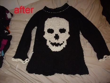 A gothed up jumper for the winter .  Make a sweater / jumper by cross stitching, sewing, and yarncrafting with needle, wool, and jumper. Inspired by pirate, gothic, and skulls & skeletons. Creation posted by Little Miss Spooky. Difficulty: Easy. Cost: Cheap.