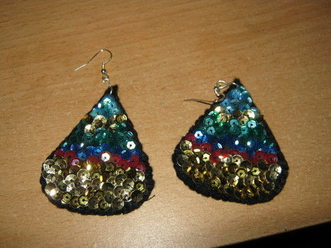 80's like glam .  Make a pair of sequin earrings in under 120 minutes by needleworking and sewing with felt, earring hooks, and needle & thread. Creation posted by Hester. Difficulty: Simple. Cost: Absolutley free.