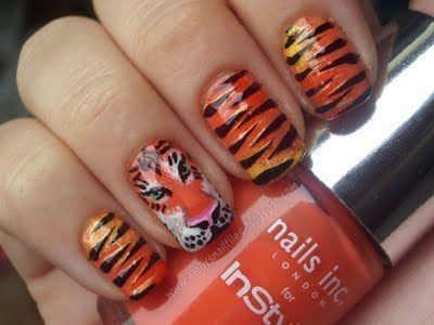 Tiger Nails Rawr How To Paint A Tiger Print Nail Manicure Art