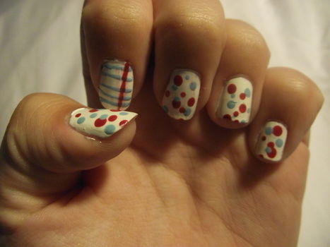 Easy, stylish nail art that you can wear to school or just about anywhere :3 .  Free tutorial with pictures on how to paint patterned nail art in under 20 minutes by nail painting, decorating, and nail painting with nail polish, nail polish, and nail polish. Inspired by polka dot. How To posted by Sarah :D. Difficulty: Simple. Cost: 3/5. Steps: 4