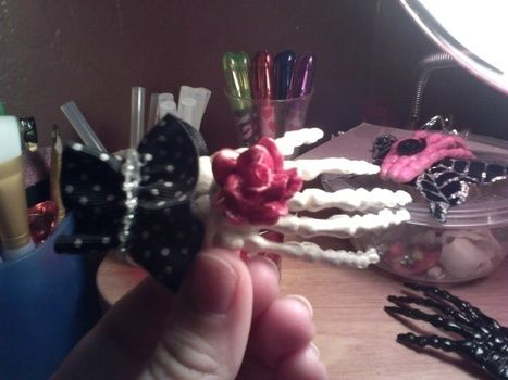 'pebbles' hair bone for the new generation .  Make a toy hair clip in under 30 minutes by decorating with hot glue gun, decoupage glue, and hair clips. Inspired by gothic, vintage & retro, and clothes & accessories. Creation posted by Chantal M. Difficulty: 3/5. Cost: Cheap.