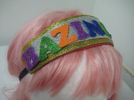 Big Bang Theory, Crafting and Glitter - Cute Geeks Unite! .  Free tutorial with pictures on how to make an embellished headband in under 15 minutes by not sewing with glitter, glitter, and hair band. Inspired by tv shows, costumes & cosplay, and clothes & accessories. How To posted by Tawny B. Difficulty: Easy. Cost: Absolutley free. Steps: 5