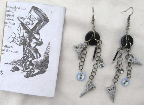 Hatter was a mad crafter too! .  Make a set of metal earrings in under 180 minutes by jewelrymaking, molding, and wireworking with buttons, wire, and jump rings. Inspired by alice in wonderland, clothes & accessories, and the mad hatter. Creation posted by DarkAshHurts. Difficulty: 3/5. Cost: Cheap.