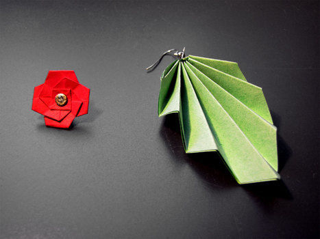 Because what's a flower without a leaf? .  Make a set of paper earrings in under 5 minutes by jewelrymaking and paper folding with paper, paper, and earring hooks. Inspired by flowers and clothes & accessories. Creation posted by Laurina-Helena. Difficulty: Easy. Cost: Absolutley free.