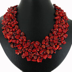 Medium Wire Beaded With Red Coral