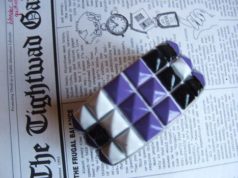 A chic way to reinvent the leftovers from my emo-phase! .  Make a cuff in under 80 minutes by creating and studding with bracelet. Inspired by clothes & accessories. Creation posted by Supernova's Child. Difficulty: Simple. Cost: No cost.