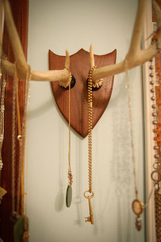 Hang your necklaces with rustic style. :) .  Free tutorial with pictures on how to make a taxidermy mount in under 180 minutes by woodworking with leather, drill, and plaque. Inspired by creatures, vintage & retro, and deer. How To posted by Stacie G. Difficulty: 5/5. Cost: 3/5. Steps: 1