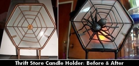 Broken and disgarded tea light holder, to fabulous goth home decor! .  Make a candle in under 20 minutes by spraypainting, decorating, and embellishing with hot glue, spray paint, and plastic. Inspired by halloween, gothic, and spiders. Creation posted by Zombicology. Difficulty: Easy. Cost: Absolutley free.