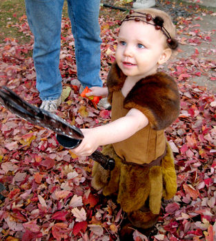 Handmade Halloween costume .  Make a baby costume by sewing with zipper, leather, and faux fur. Inspired by costumes & cosplay and viking. Creation posted by grungezombie. Difficulty: 3/5. Cost: Cheap.