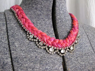 Fun combination of color and crystal in this DIY .  Free tutorial with pictures on how to braid a necklace in under 40 minutes by braiding and sewing with thread, needle, and necklace. Inspired by vintage & retro. How To posted by Erin P. Difficulty: Simple. Cost: Cheap. Steps: 7