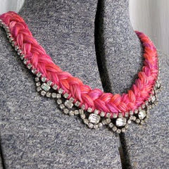 Diy Embroidery Thread And Rhinestone Necklace